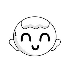 line cute baby boy head with hairstyle design vector image vector image