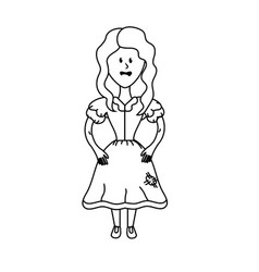 Line pretty woman with hairstyle and dress vector