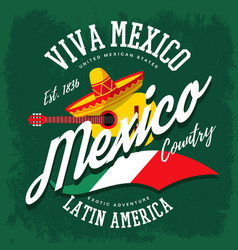 Mexican sombrero and banjo banner vector