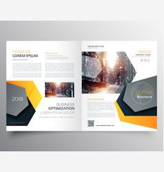 Modern abstract bifold business brochure template vector