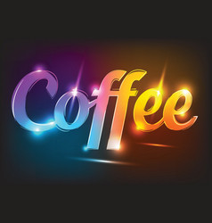 Neon sign coffee illuminated neon vector