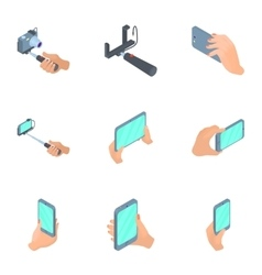 Photo mobile phone icons set cartoon style vector