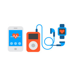 Portable device music player cartoon digital vector