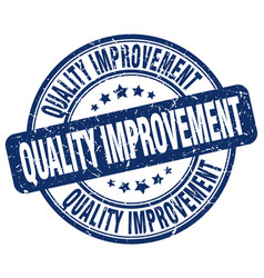 Quality improvement blue grunge stamp vector