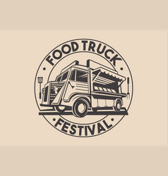 Restaurant delivery service food truck logo vector