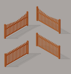 set of wooden fence vector image vector image