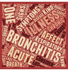 sign and symptom of bronchitis text background vector image vector image