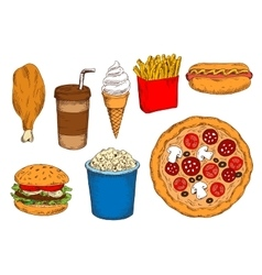 Sketches of fast food lunch with coffee ice cream vector