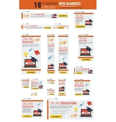 Standard size web banners - online education vector