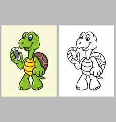 turtle bring handphone cartoon character vector image