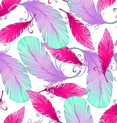 Watercolor seamless pattern with bird feathers vector image vector image