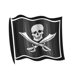Waving pirate flag jolly roger vector