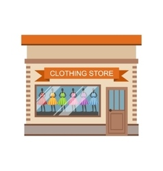 Clothing store commercial building facade design vector