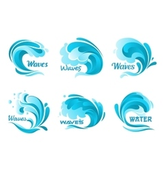 Water splash icons isolated ocean waves vector