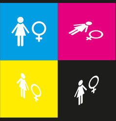 female sign   white icon with vector image