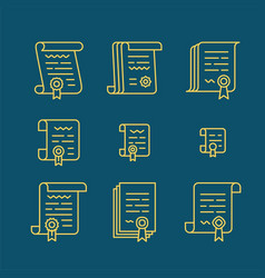 Contract line icons vector