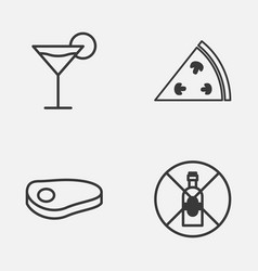 Restaurant icons set collection of cocktail vector