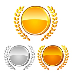 Medals and laurel wreath vector