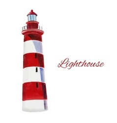 Lighthouse watercolor painting on white vector