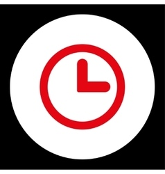 Clock flat red and white colors round button vector