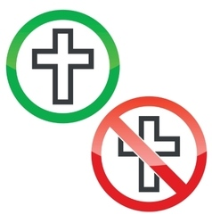 Christian cross permission signs set vector