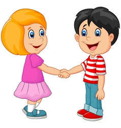 Cartoon their children holding hands vector