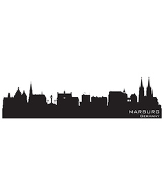 Marburg germany skyline detailed silhouette vector