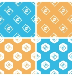 3d movie pattern set colored vector