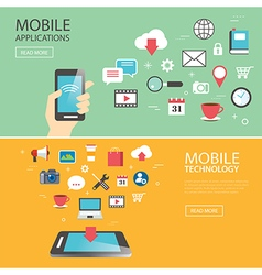 Mobile application technology banner template vector