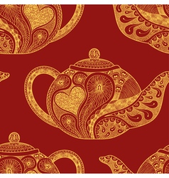 Seamless pattern made of patterned teapots vector