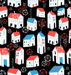 Seamless graphic pattern with different houses vector
