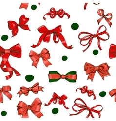 Seamless texture with chrestmas red bows vector