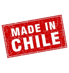 Chile red square grunge made in stamp vector