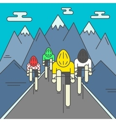Modern of cyclists on the road vector