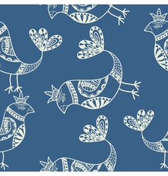 Silhouette of black ethnic birds seamless pattern vector