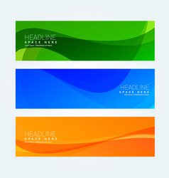 Abstract wavy set of three banners in different vector