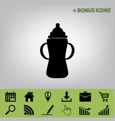 Baby bottle sign black icon at gray vector