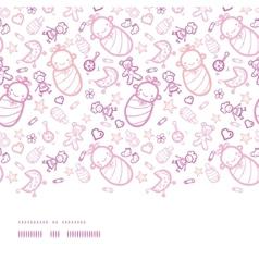 Baby girls horizontal border seamless pattern vector