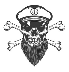 bearded sea captain skull with crossbones design vector image