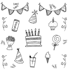 Birthday for kids doodle art vector