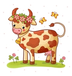 Cartoon cow that stands on a lawn with flowers vector image vector image