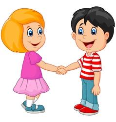 Cartoon their children holding hands vector