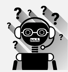 Chatbot with question mark icon concept black chat vector