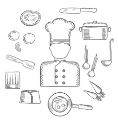 Chef with kitchen and food icons vector image