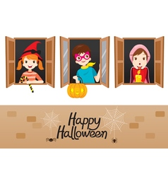 Children on window happy halloween vector
