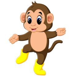 cute cartoon monkey vector image vector image