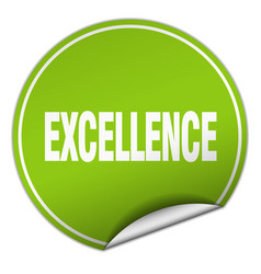 Excellence round green sticker isolated on white vector