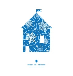 Falling snowflakes house silhouette pattern frame vector