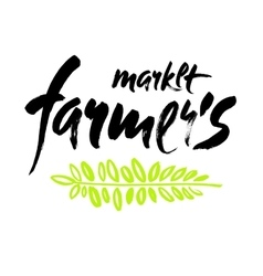 Farmers market hand lettering retro vintage style vector