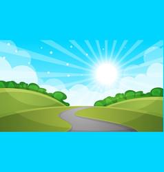 fence cartoon landscape sun road cloud sk vector image vector image